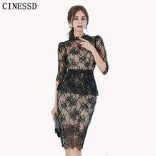 CINESSD Sexy Lace Bag Hip Party Dress 2019 Women Summer Black Oneck Half sleeve Knee-length Pencil Work Dress Vestidos Plus Size