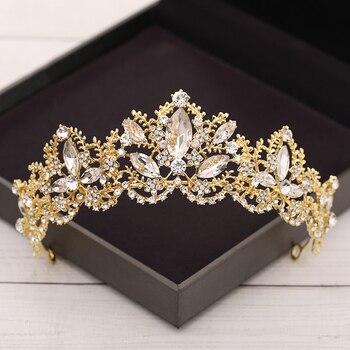Baroque Crystal Tiaras And Crowns Wedding Hair Accessories Bridal Crown Diadem Gold Rhinestone Wedding Tiara Bridal Hair Jewelry