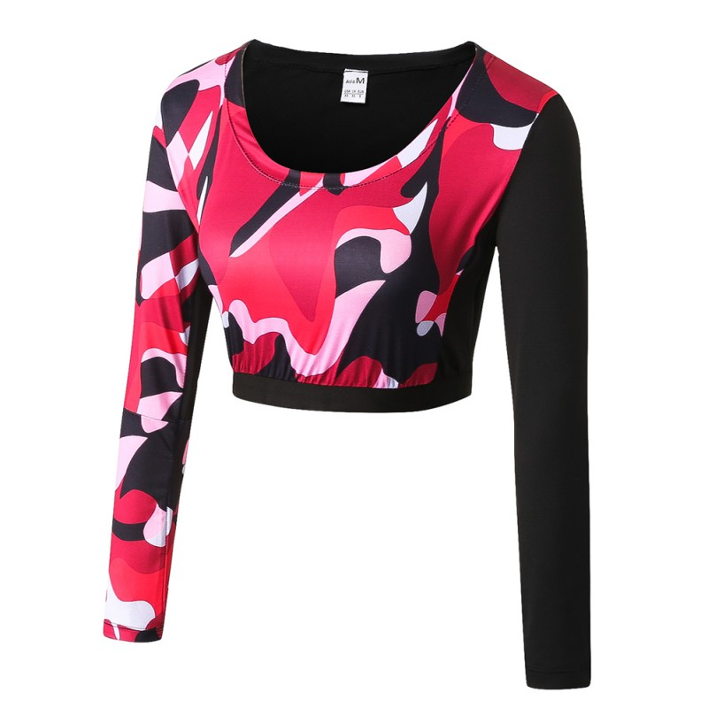 Sportswear Cycling Camouflage Women Riding Wicking Fitness-Tops Exercises Elastic Quick-Drying