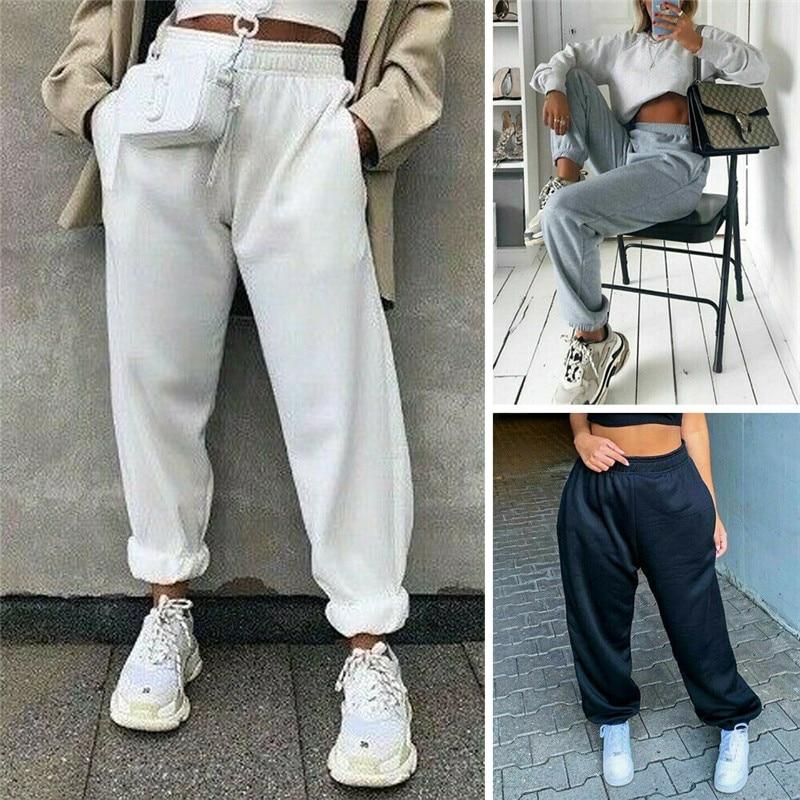 Women Casual Sport Pants Solid Running Jogger Long Pants Female Solid Tracksuit Elastic Waist Ladies Sweatpants Baggy Trousers