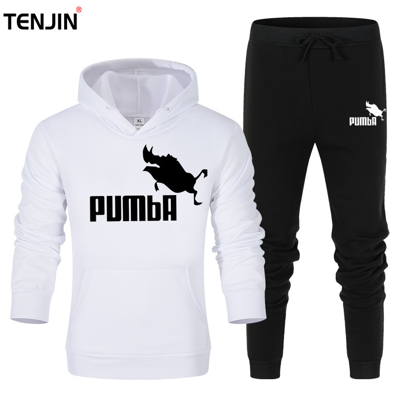2019 New Men's And Women's Suit Pumba Hoodie New Fashion Brand Sweatshirt PUMBA Warm Print Men's Sports Suit Wool Thick