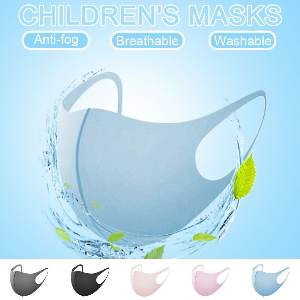 5 Pcs Solid Color Kids Face Mask Unisex Dustproof Cotton Mask Mascarillas Reusable Anti-fog Anti-dust Face Masks Washable
