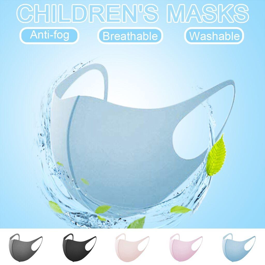 5 Pcs Solid Color Kids Face Mask Unisex Dustproof Cotton Mask Mascarillas Reusable Anti-fog Anti-dust Face Masks Washable