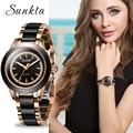 SUNKTA кварцевые женские часы из керамики, часы из нержавеющей стали, женские роскошные Брендовые женские эксклюзивный браслет, часы Reloj De Dama