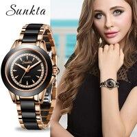 SUNKTA クォーツ女性腕時計ステンレス鋼腕時計女性のトップの高級ブランドレディースブティックブレスレットウォッチリロイデ Dama