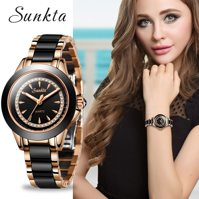 SUNKTA Quartz Women Watches Ceramics Stainless Steel Watches Women Top Luxury Brand Ladies Boutique Bracelet Watch Reloj De Dama