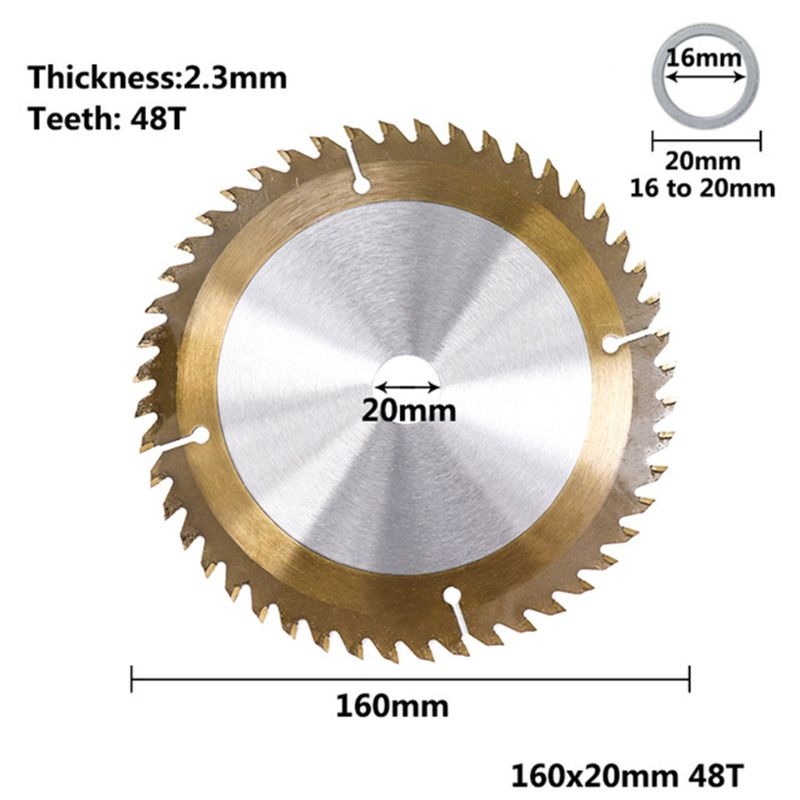 Cutting Disc 160/165/185mm Wood TiCN Coated Circular Saw Blade 24/40/48/80T Cutting Disc