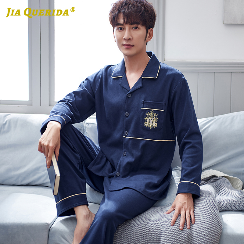 Mens Pajama Set 100% Pure Cotton High Quality Sleepwear For Men Royal Blue Cardigan Badge Embroidery Pocket Cotton Man Big Set