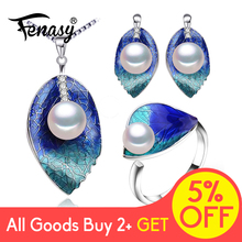 FENASY Pearl Jewelry sets 925 Sterling Silver stud earrings,natural leaf necklace for women love Cloisonne earrings