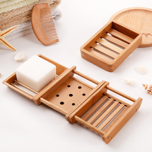 Portable Soap Dishes Creative simple bamboo wood manual drain soap box tray bathroom toilet Japanese wooden