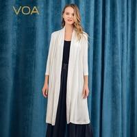 VOA heavy silk shirt seven quarter sleeves dark pattern jacquard stitching loose casual knitted sunscreen shirt women W378