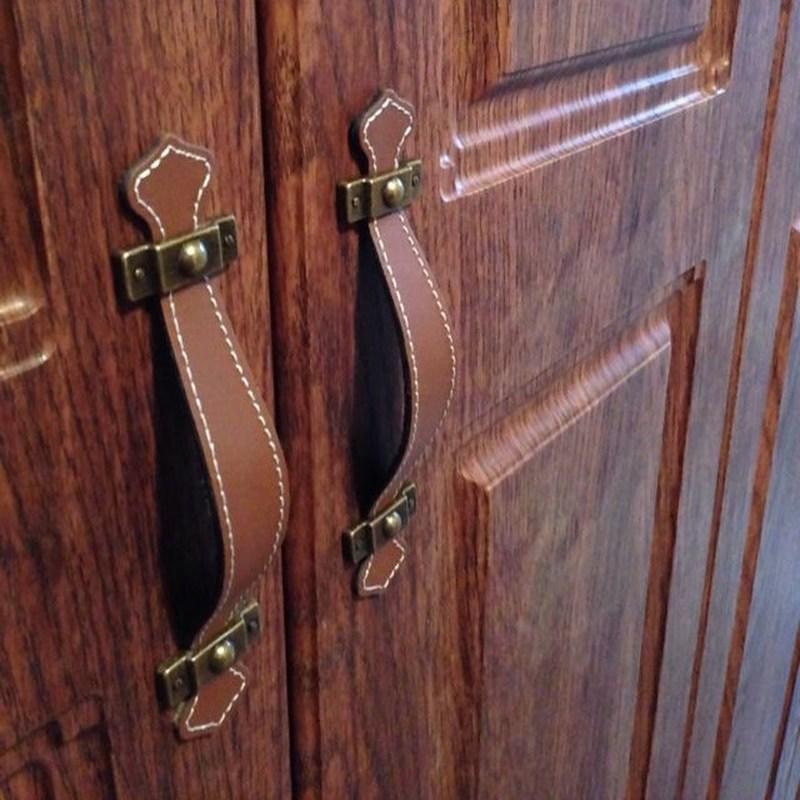 2 cor/vintage couro móveis puxadores 96-128mm porta cinto puxar alça para gabinete gaveta bolsas bagagem mala acessórios