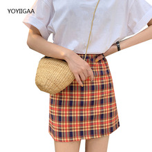 Spring Summer Women Plaid Skirt High Waist Slim Female Skirts Fashion Ladies Mini Pencil Skirt Streetwear Casual Ladies Skirts
