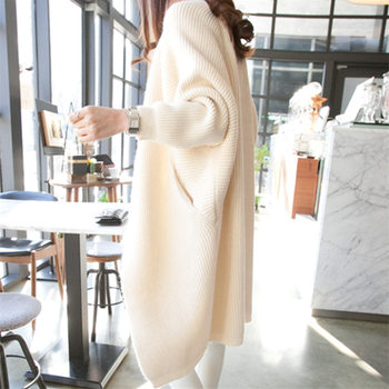 2020 Long Cardigan Women Sweater Autumn Winter Bat Sleeve Knitted Sweater Plus Size Jacket Loose Ladies Sweaters Cardigans 3XL image