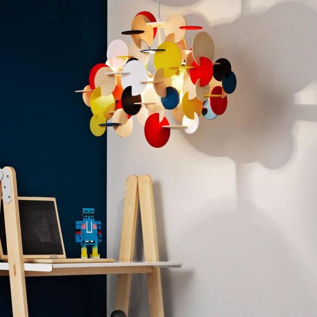 Wood color / color building blocks children's room pendant lights living room deco bedroom hanging lamp LED restaurant lighting|Pendant Lights| |  - title=