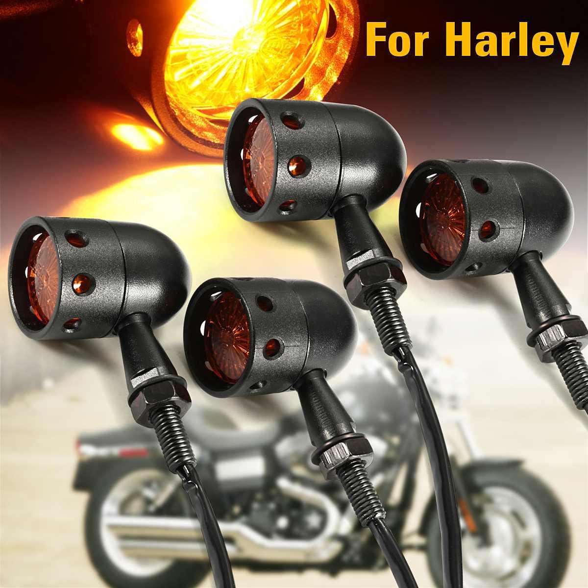 Pair Universal 12V Motorcycle Turn Signal Light Retro Vintage Hollow Indicator Lamp Amber For Harley Suzuki Yamaha