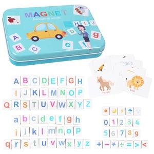 Image 5 - 60 desen hayvanlar büyü alfabe bulmacalar manyetik yapboz öğrenme ingilizce oyuncak ahşap çocuk bulmaca oyuncak seti çocuk eğitim oyuncak