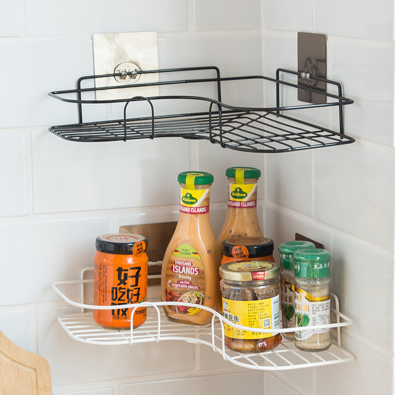 Home Kitchen Corner Rack Bathroom Corner Triangle Rack Bathroom Free Punch Iron Storage Rack Racks Holders Aliexpress