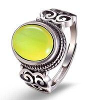 Lotus Fun Real 925 Sterling Silver Natural Chalcedony Vintage Gemstones Rings for Women Original Handmade Designer Fine Jewelry