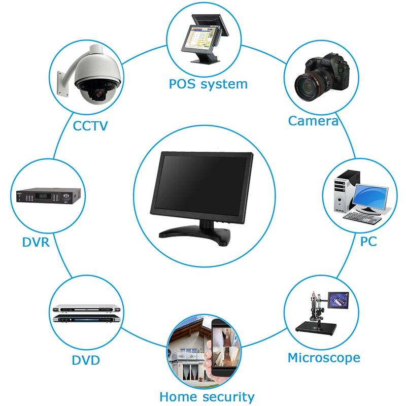 10,1 дюймовый широкоэкранный монитор 1280*800 1920*1200 tft небольшой дешевый hdmi vga монитор с динамиками - 6