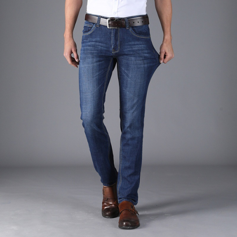 Jeans Men's 2019 Spring And Summer Thin Business Casual Plus-sized Menswear Straight-Cut Loose-Fit Stretch Denim Trousers