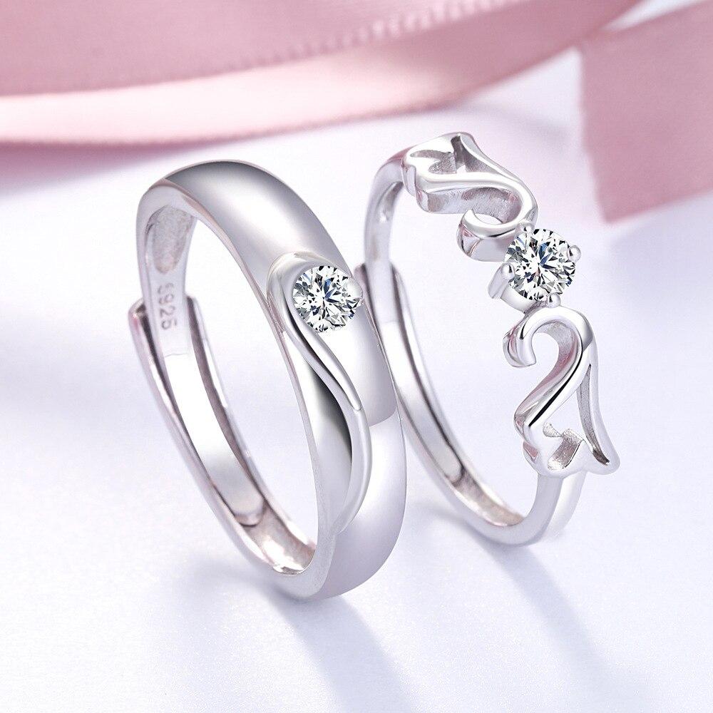 Personnalité Simple en argent sterling couple anneau s925 en argent sterling incrusté pierre bague de fiançailles