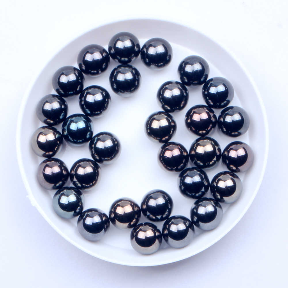Gun Black Round Beads 4mm 5mm 6mm 8mm 10mm No Hole Imitation Resin Pearls DIY Crafts Decoration
