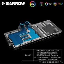 Barrow pełna pokrywa GPU blok wodny dla ZOTAC GAMING GeForce RTX 2080 Ti AMP ekstremalny rdzeń VGA blok 5V 3PIN LRC2.0 BS ZOZ2080T PA