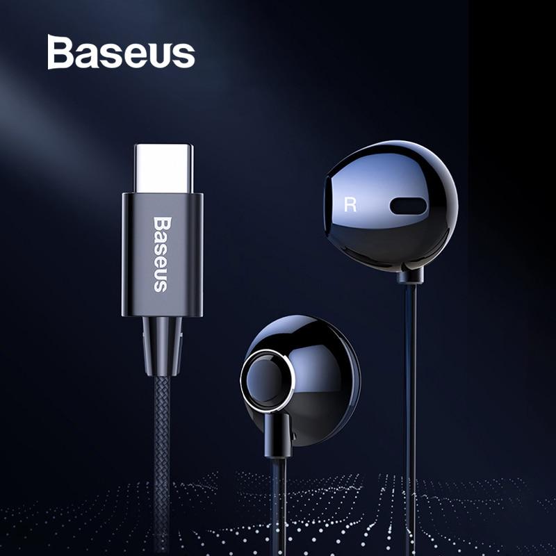 Baseus C06 USB Tipo-c Fone de Ouvido Estéreo de Som Fones De Ouvido Com mi c para Xiao mi mi 9 8 se nota huawei p30 pro companheiro 20 3 pro Oppo Find X