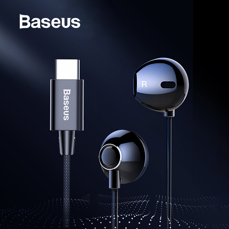 Baseus C06 USB Type-c Earphone Stereo Sound Earbuds With Mic For Xiaomi Mi 9 8 Se Note 3 Huawei P30 Pro Mate 20 Pro Oppo Find X