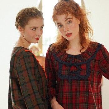 Spring Autumn Pajamas Women's Cotton Ladies Pajamas Long-sleeved Pajamas Court Bow Tie Casual Female Homewear Suit