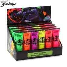 6 Cores Neon Fluorescente UV Body Paint 24 pçs/set Pintura de Rosto Luminoso Acrílico Tintas Arte para Festa de Halloween Compõem
