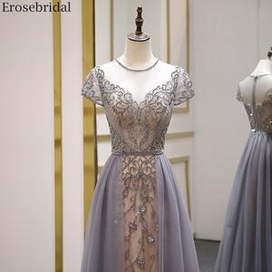 Image 3 - Erosebridal Elegant Short Sleeve Evening Dress 2020 A Line Beads Long Prom Dress O Neck Small Train See Through Back