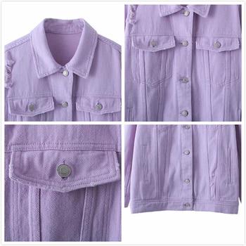 2020 Spring Autumn Purple Oversize Denim Jacket Women Solid Hole Casual Loose Jeans Jackets Coat Female Outwear Tops Veste Femme 5