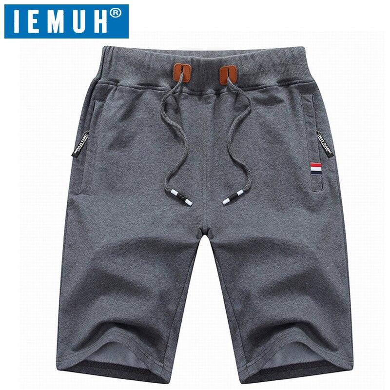 IEMUH Men Casual Shorts Cotton Summer Beach Short Size M-6XL Male Solid Board Shorts High Quality Elastic Fashion Short Men