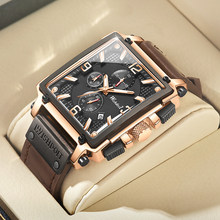 2021 New Fashion Waterproof Men's Watch Top Brand Luxury Leather Square Large Dial Sports Quartz Chronograph Relogio Masculi