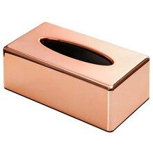 Бумажная стойка Элегантный Королевский розовое золото автомобиль дома прямоугольной формы контейнер для бумажных платков Держатель салфеток