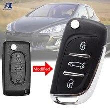 Модифицированный чехол для ключей с откидной крышкой, чехол с дистанционным управлением и 3 кнопками для Peugeot 306 407 408 607 для Citroen C4 C2, Автомобил...
