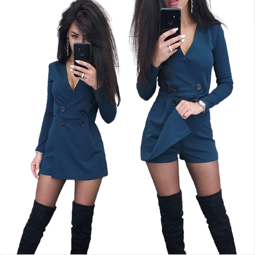 New Sexy Women Solid Color Long Sleeve Slim Fit Jumpsuit 2020 Fashion Spring and Autumn Plus Size Casual Office Women's Clothing