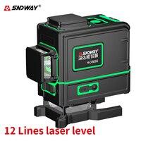 Sndway 12 linhas laser 3d nível poderoso horizontal/vertical verde lazer nível auto nivelamento laser nível de 360 graus linha transversal|Níveis de laser| |  -