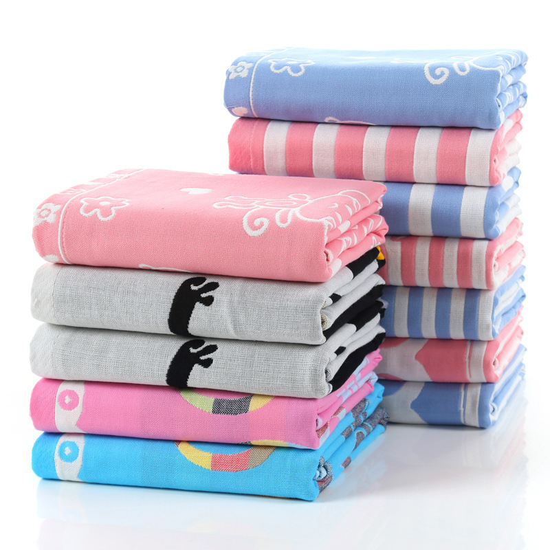Cotton three-layer gauze bath towel baby newborn hug 140*70