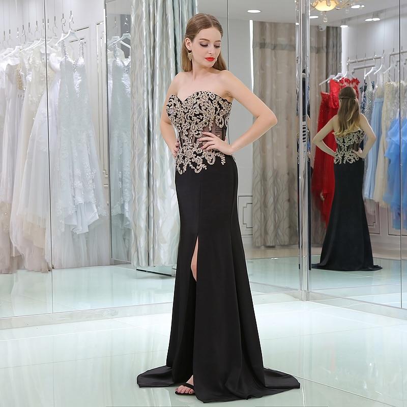 JaneVini Sexy Mermaid Black Satin Prom Dresses Sweetheart Gold Appliques Side Split Long Party Gown for Women Vestido Largo Gala