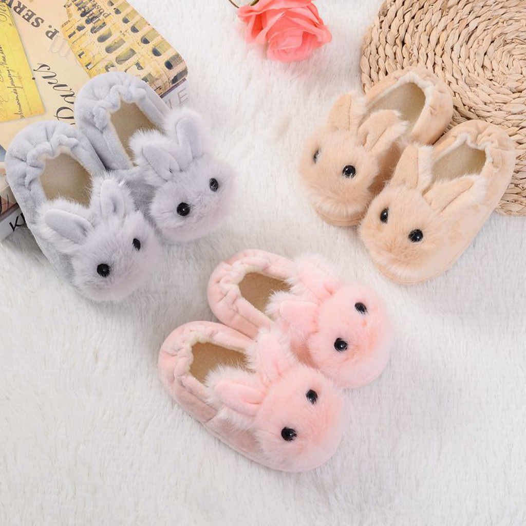 Toddler Autumn And Winter Sneakers Infant Kids Warm Cartoon Bear Shape Shoes Boys Girls Plush Soft-Soled Slippers 1Year 2019