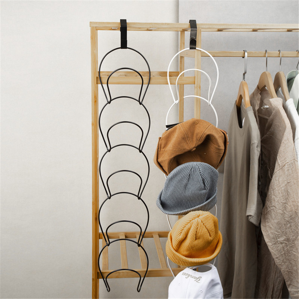 5PCS/Set Wall Mount Hat Holder Rack Storage Display Behind Doors Scarf Bag Hooks Hangers Shelf Home Rack Organizer Accessories