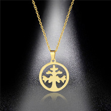 Round Life Tree Necklace Stainless Steel Wishing Hollow Pendant Clavicle Chain Accessories