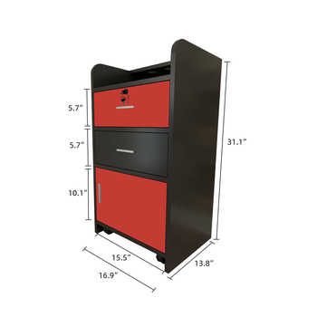 43 x 35 x 79cm 2 Pumping a Beauty Salon Side Table Black & Red wall - mounted salon beauty salon table