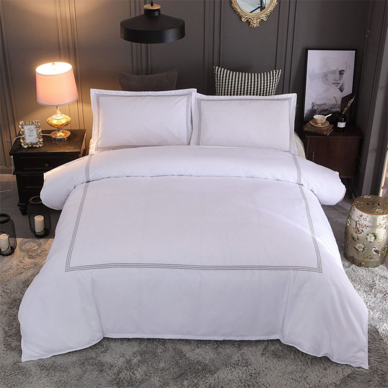 Linen-Set Comforter Queen White Luxury Modern Bed Yimeis BE45120