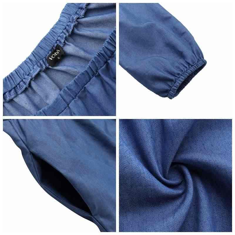 VONDA размера плюс джинсовое платье 2019 женское осеннее длинное платье длиной до колена с рукавами-фонариками богемное платье сарафан с открытыми плечами 5XL