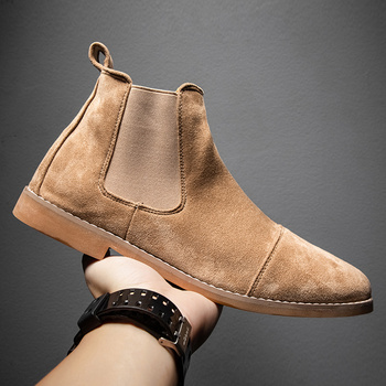 Suede Chelsea Boots mężczyźni zimowe czarne skórzane buty brytyjski styl szpiczasty nosek męskie skórzane buty 2020 moda Slip-on buty sukienka tanie i dobre opinie Kitleler Chelsea Buty CN (pochodzenie) Krowa Zamszu ANKLE Stałe Płótno Fabric RUBBER Zima Mieszkanie (≤1cm) D037 Pasuje prawda na wymiar weź swój normalny rozmiar