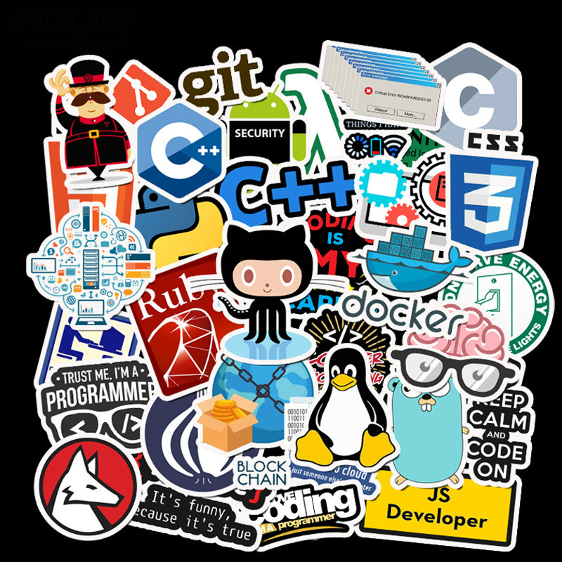 50 Pcs Internet Java JS Php Html Cloud Docker Bitcoin Programming Language APP Logo Cool Stickers for Laptop Car DIY Stickers image